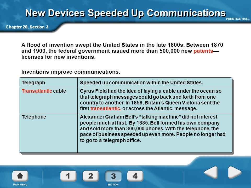 Chapter 20, Section 3 New Devices Speeded Up Communications A flood of invention swept the United States in the late 1800s. Between 1870 and 1900, the