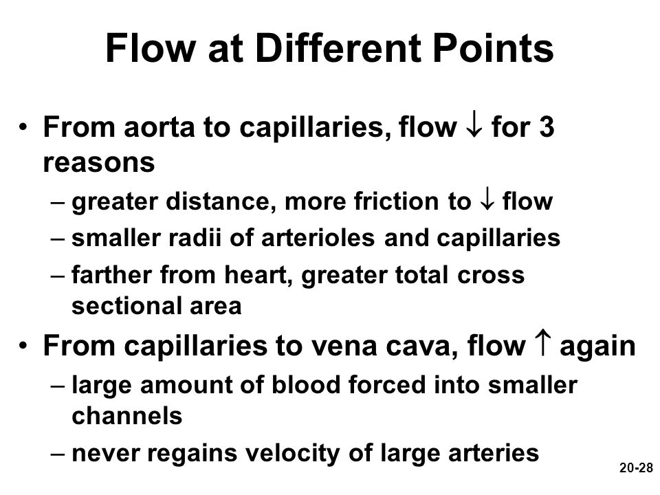 20-28 Flow at Different Points From aorta to capillaries, flow  for 3 reasons –greater distance, more friction to  flow –smaller radii of arterioles