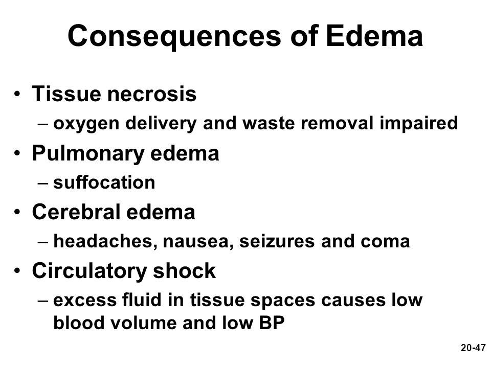 20-47 Consequences of Edema Tissue necrosis –oxygen delivery and waste removal impaired Pulmonary edema –suffocation Cerebral edema –headaches, nausea