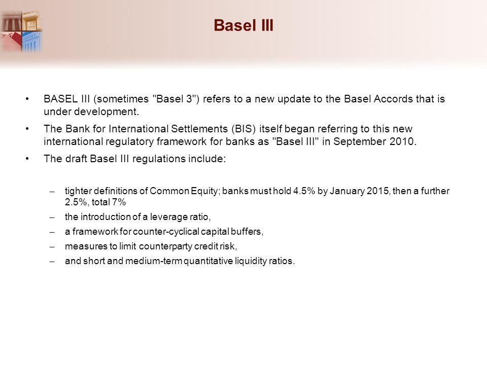Basel III BASEL III (sometimes