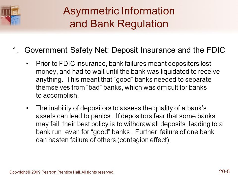 Copyright © 2009 Pearson Prentice Hall. All rights reserved. 20-5 Asymmetric Information and Bank Regulation 1.Government Safety Net: Deposit Insuranc