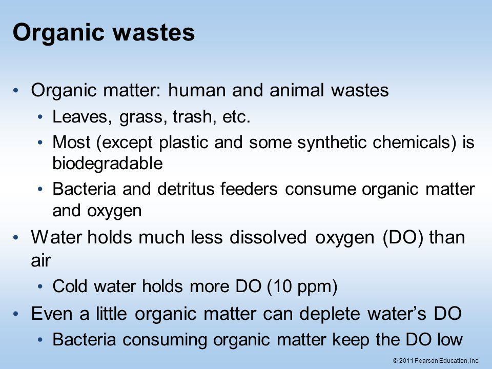 © 2011 Pearson Education, Inc. Organic wastes Organic matter: human and animal wastes Leaves, grass, trash, etc. Most (except plastic and some synthet
