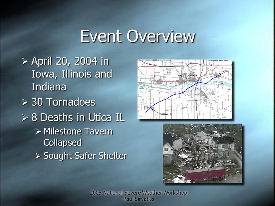 2005 National Severe Weather Workshop Paul Sirvatka Northeast Illinois