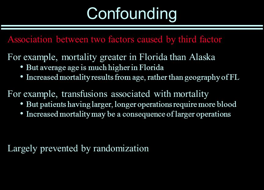 Confounding Association between two factors caused by third factor For example, mortality greater in Florida than Alaska But average age is much higher in Florida Increased mortality results from age, rather than geography of FL For example, transfusions associated with mortality But patients having larger, longer operations require more blood Increased mortality may be a consequence of larger operations Largely prevented by randomization