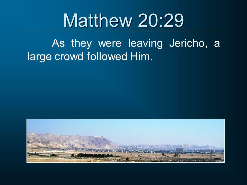 Matthew 20:29 As they were leaving Jericho, a large crowd followed Him.