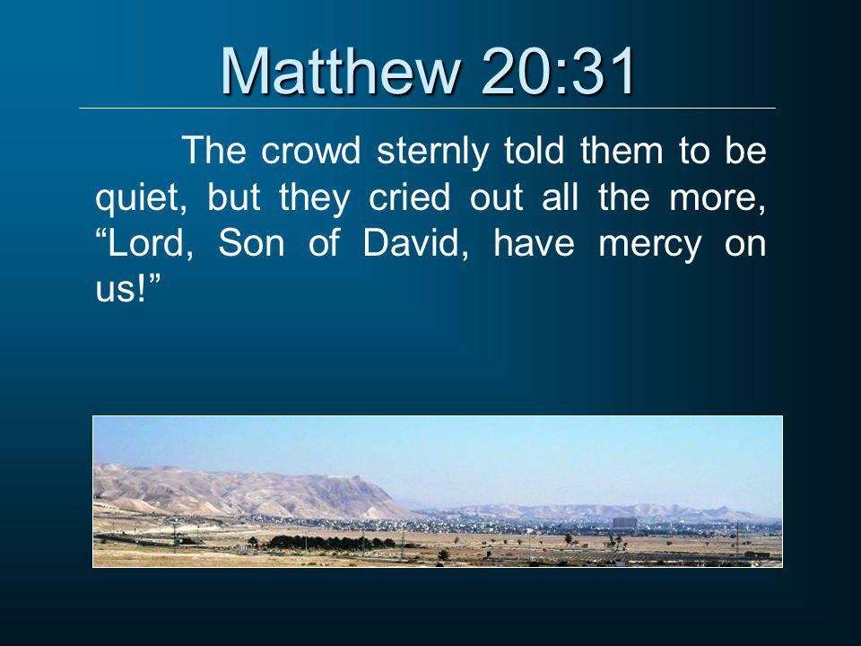 """Matthew 20:31 The crowd sternly told them to be quiet, but they cried out all the more, """"Lord, Son of David, have mercy on us!"""""""