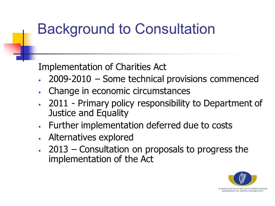 Background to Consultation Implementation of Charities Act 2009-2010 – Some technical provisions commenced Change in economic circumstances 2011 - Pri