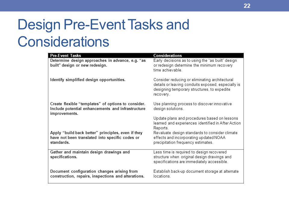 "Design Pre-Event Tasks and Considerations Pre-Event TasksConsiderations Determine design approaches in advance, e.g. ""as built"" design or new redesign"
