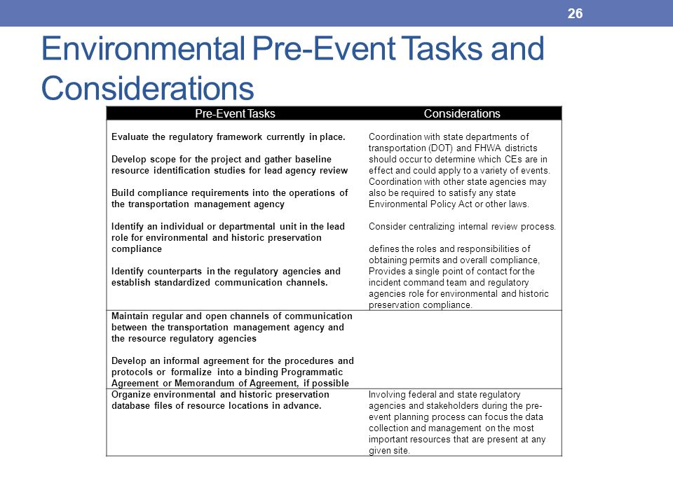 Environmental Pre-Event Tasks and Considerations Pre-Event TasksConsiderations Evaluate the regulatory framework currently in place. Develop scope for