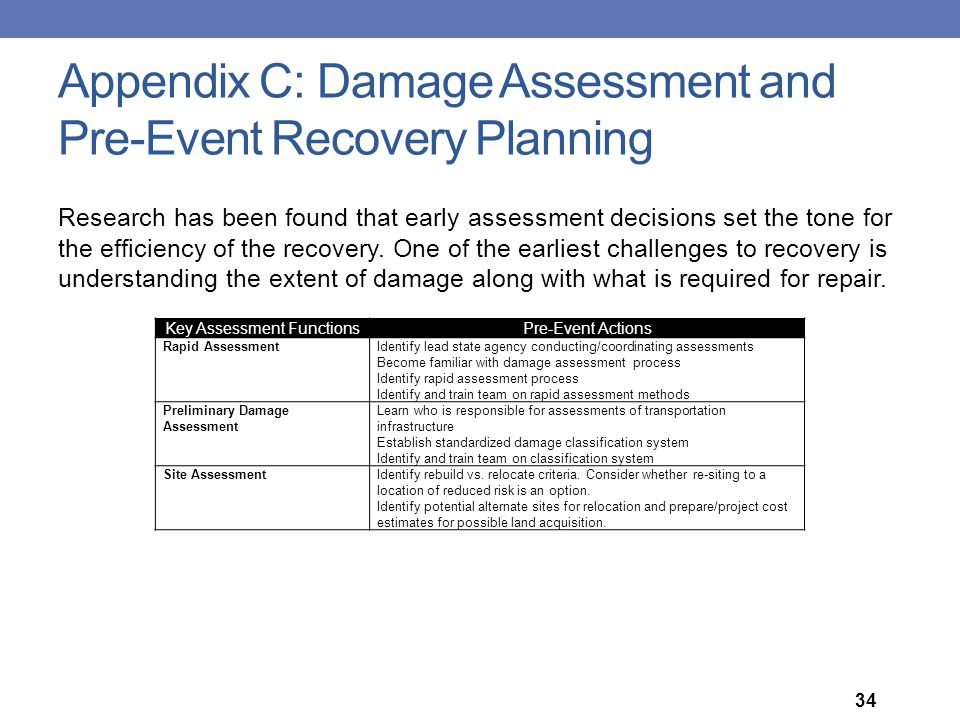 Appendix C: Damage Assessment and Pre-Event Recovery Planning Key Assessment FunctionsPre-Event Actions Rapid AssessmentIdentify lead state agency con