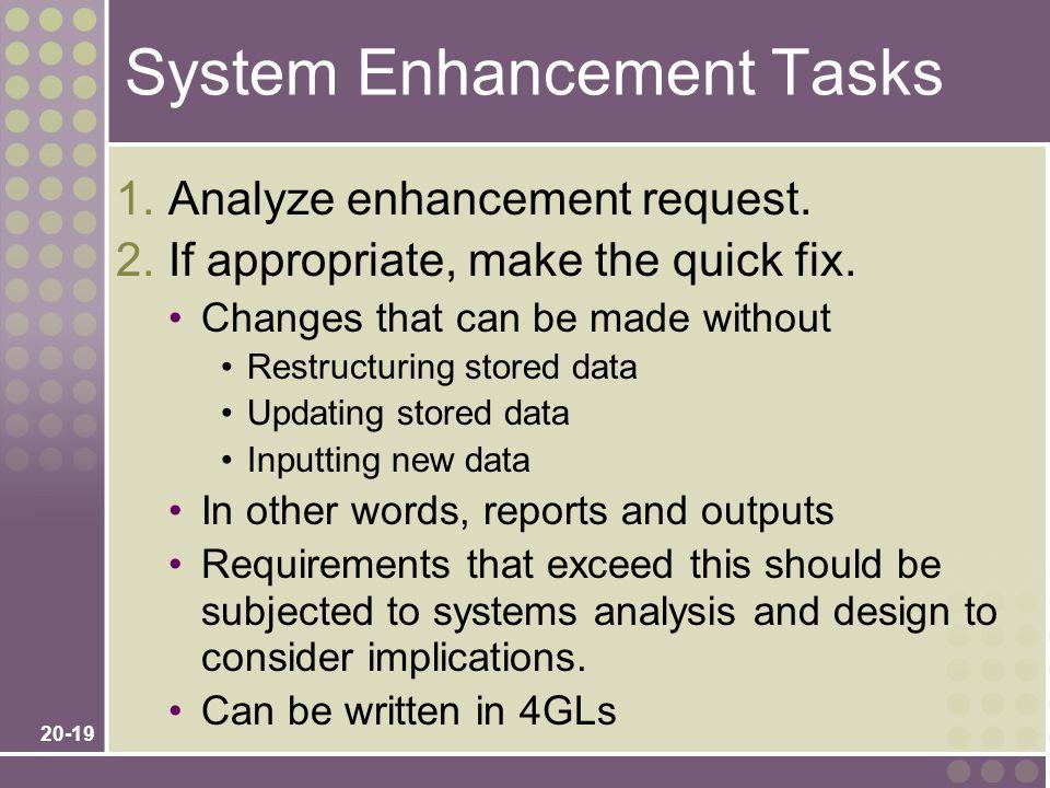 20-19 System Enhancement Tasks 1. Analyze enhancement request.