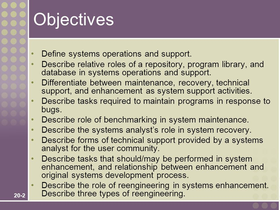 20-2 Objectives Define systems operations and support.