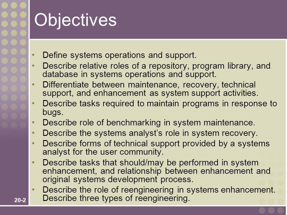 20-13 System Maintenance Tasks 1.Validate the problem.