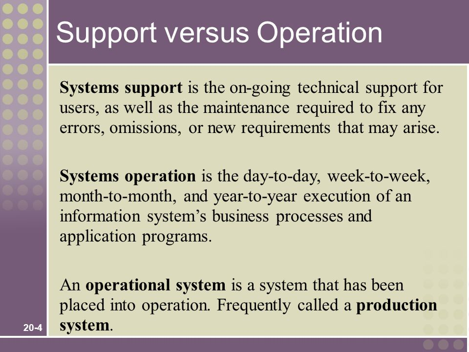 20-4 Systems support is the on-going technical support for users, as well as the maintenance required to fix any errors, omissions, or new requirements that may arise.