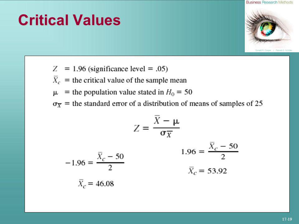 17-19 Critical Values