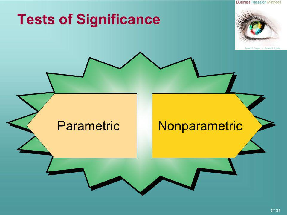 17-24 Tests of Significance NonparametricParametric