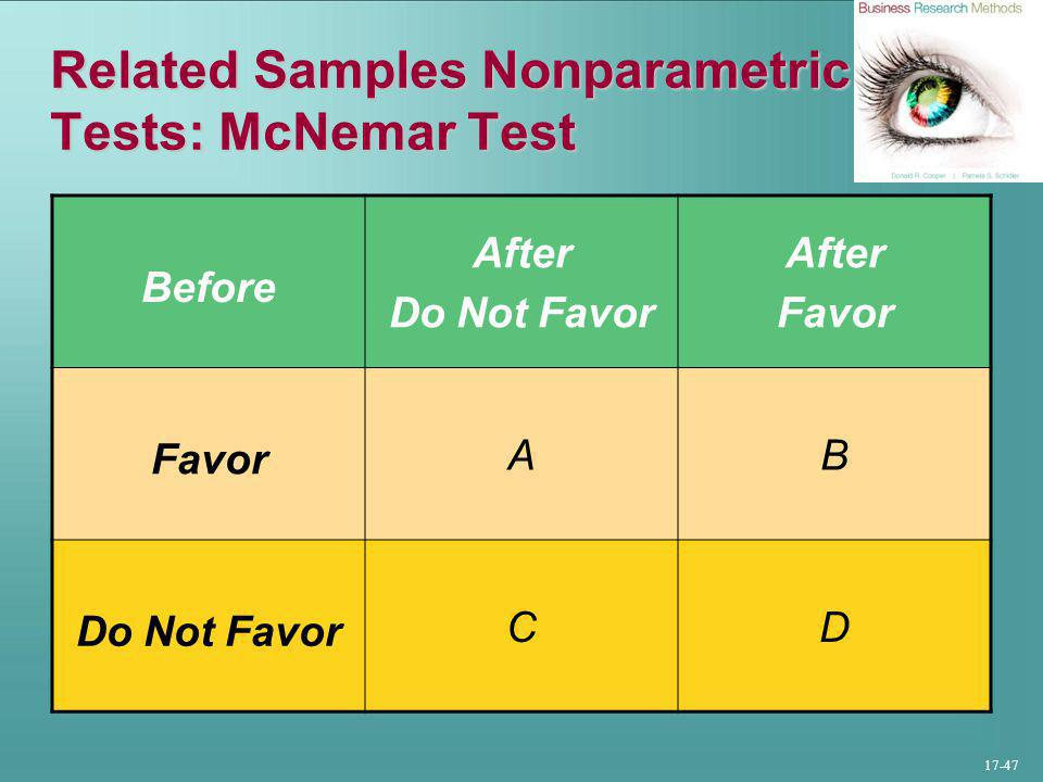 17-47 Related Samples Nonparametric Tests: McNemar Test Before After Do Not Favor After Favor AB Do Not Favor CD