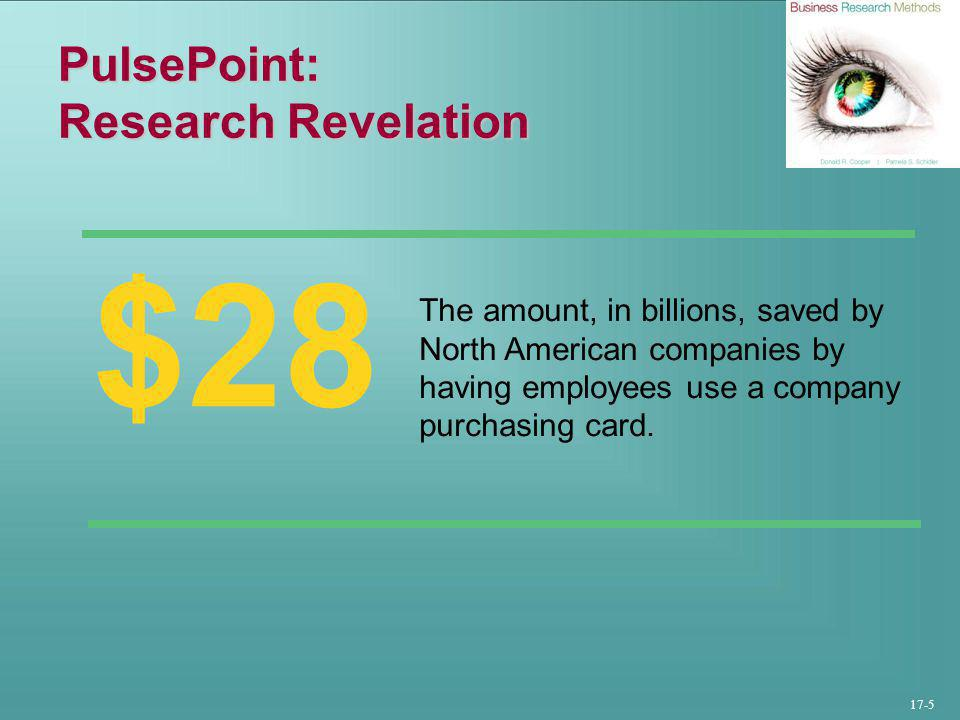 17-5 PulsePoint: Research Revelation $28 The amount, in billions, saved by North American companies by having employees use a company purchasing card.