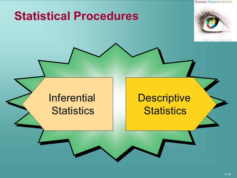 17-8 Statistical Procedures Descriptive Statistics Inferential Statistics