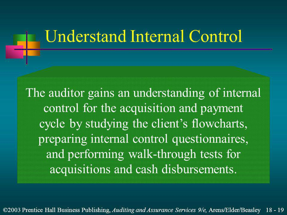 ©2003 Prentice Hall Business Publishing, Auditing and Assurance Services 9/e, Arens/Elder/Beasley 18 - 19 Understand Internal Control The auditor gains an understanding of internal control for the acquisition and payment cycle by studying the client's flowcharts, preparing internal control questionnaires, and performing walk-through tests for acquisitions and cash disbursements.