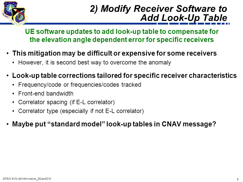 9 GPSW SVN-49 Information_25Jan2010 2) Modify Receiver Software to Add Look-Up Table UE software updates to add look-up table to compensate for the el