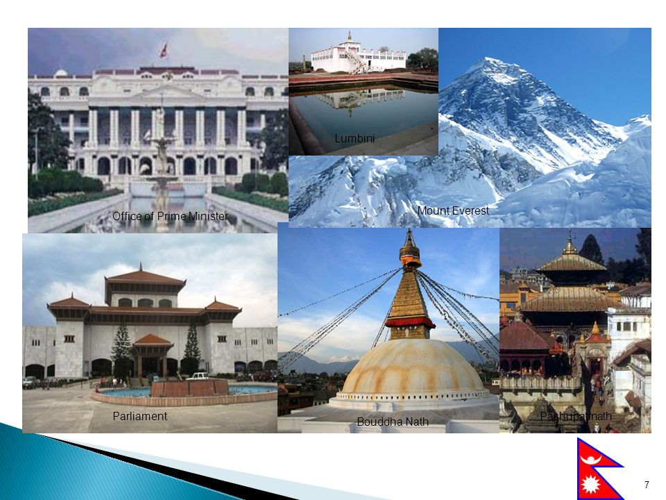 7 Office of Prime Minister Mount Everest Parliament Bouddha Nath Pashupatinath Lumbini