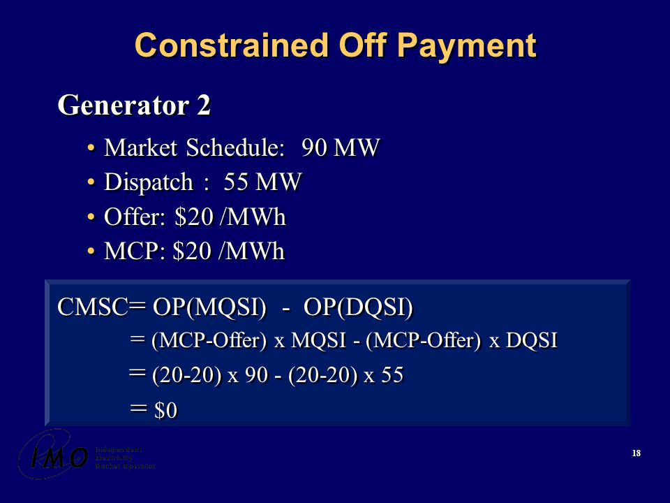18 Constrained Off Payment Generator 2 Market Schedule: 90 MW Dispatch : 55 MW Offer: $20 /MWh MCP: $20 /MWh Generator 2 Market Schedule: 90 MW Dispatch : 55 MW Offer: $20 /MWh MCP: $20 /MWh CMSC = OP(MQSI) - OP(DQSI) = (MCP-Offer) x MQSI - (MCP-Offer) x DQSI = (20-20) x 90 - (20-20) x 55 = $0 CMSC = OP(MQSI) - OP(DQSI) = (MCP-Offer) x MQSI - (MCP-Offer) x DQSI = (20-20) x 90 - (20-20) x 55 = $0