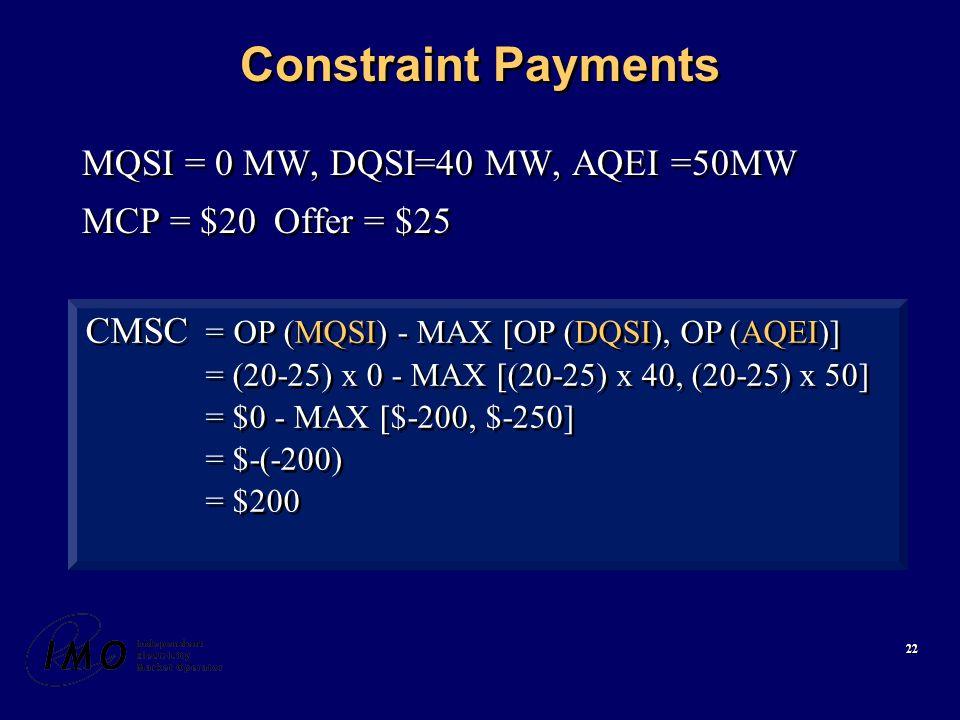 22 Constraint Payments MQSI = 0 MW, DQSI=40 MW, AQEI =50MW MCP = $20Offer = $25 MQSI = 0 MW, DQSI=40 MW, AQEI =50MW MCP = $20Offer = $25 CMSC = OP (MQSI) - MAX [OP (DQSI), OP (AQEI)] = (20-25) x 0 - MAX [(20-25) x 40, (20-25) x 50] = $0 - MAX [$-200, $-250] = $-(-200) = $200 CMSC = OP (MQSI) - MAX [OP (DQSI), OP (AQEI)] = (20-25) x 0 - MAX [(20-25) x 40, (20-25) x 50] = $0 - MAX [$-200, $-250] = $-(-200) = $200