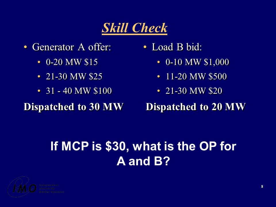 19 Constrained On Payment Generator 3 Market Schedule: 0 Dispatch : 40 MW Offer: $25 MCP: $20 /MWh Generator 3 Market Schedule: 0 Dispatch : 40 MW Offer: $25 MCP: $20 /MWh CMSC = OP(MQSI) - OP(DQSI) = (MCP-Offer) x MQSI - (MCP-Offer) x DQSI = ($20-$25) x 0 - ($20-$25) x 40 MW = $200 CMSC = OP(MQSI) - OP(DQSI) = (MCP-Offer) x MQSI - (MCP-Offer) x DQSI = ($20-$25) x 0 - ($20-$25) x 40 MW = $200