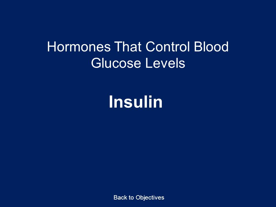 Hormones That Control Blood Glucose Levels Insulin Back to Objectives