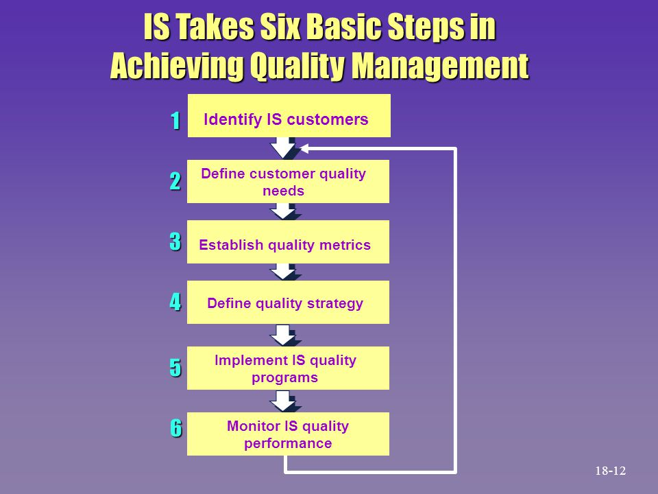 IS Takes Six Basic Steps in Achieving Quality Management 1 2 3 4 5 6 Identify IS customers Define customer quality needs Establish quality metrics Define quality strategy Implement IS quality programs Monitor IS quality performance 18-12