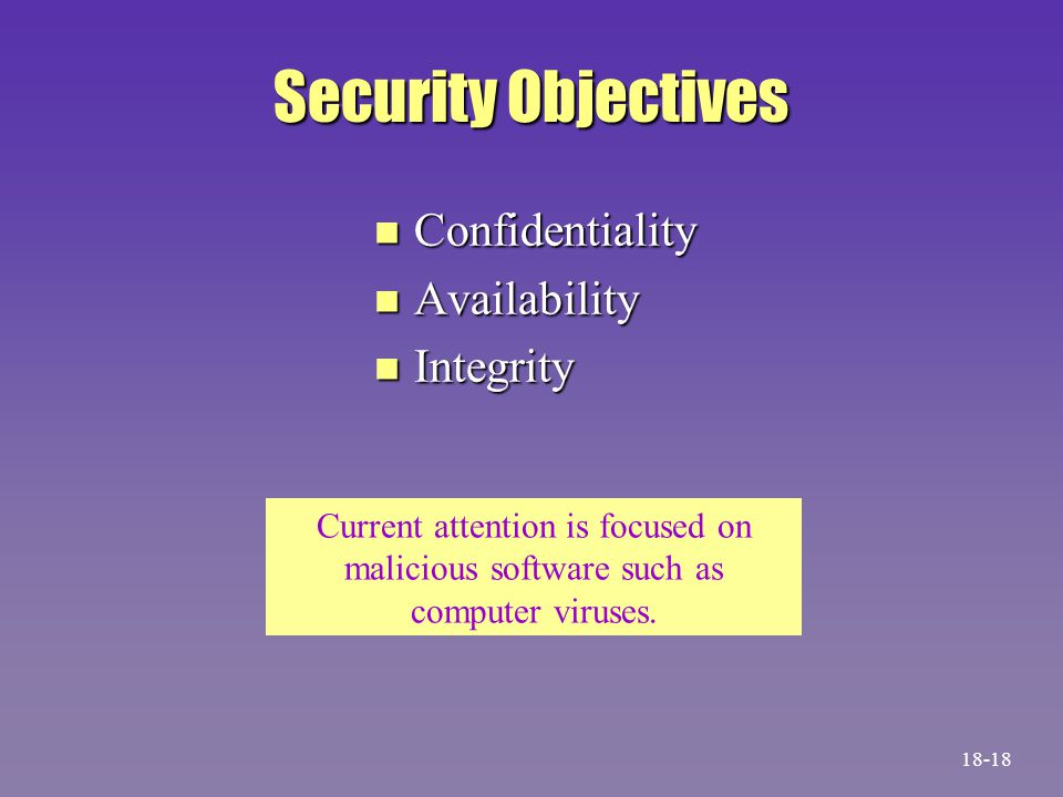 Security Objectives n Confidentiality n Availability n Integrity Current attention is focused on malicious software such as computer viruses. 18-18