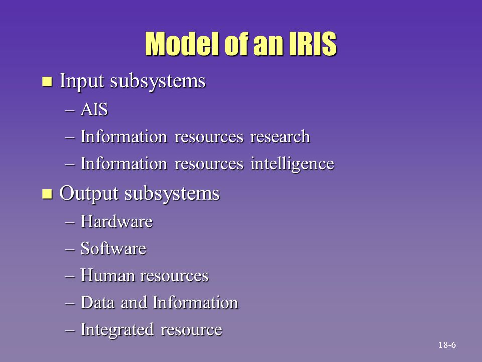 A Model of an Information Resources Information System Database Accounting information system Information resources research subsystem Information resources intelligence subsystem Hardware subsystem Software subsystem Human resources subsystem Data and information subsystem Integrated resource subsystem Internal sources Environmental sources Users 18-7