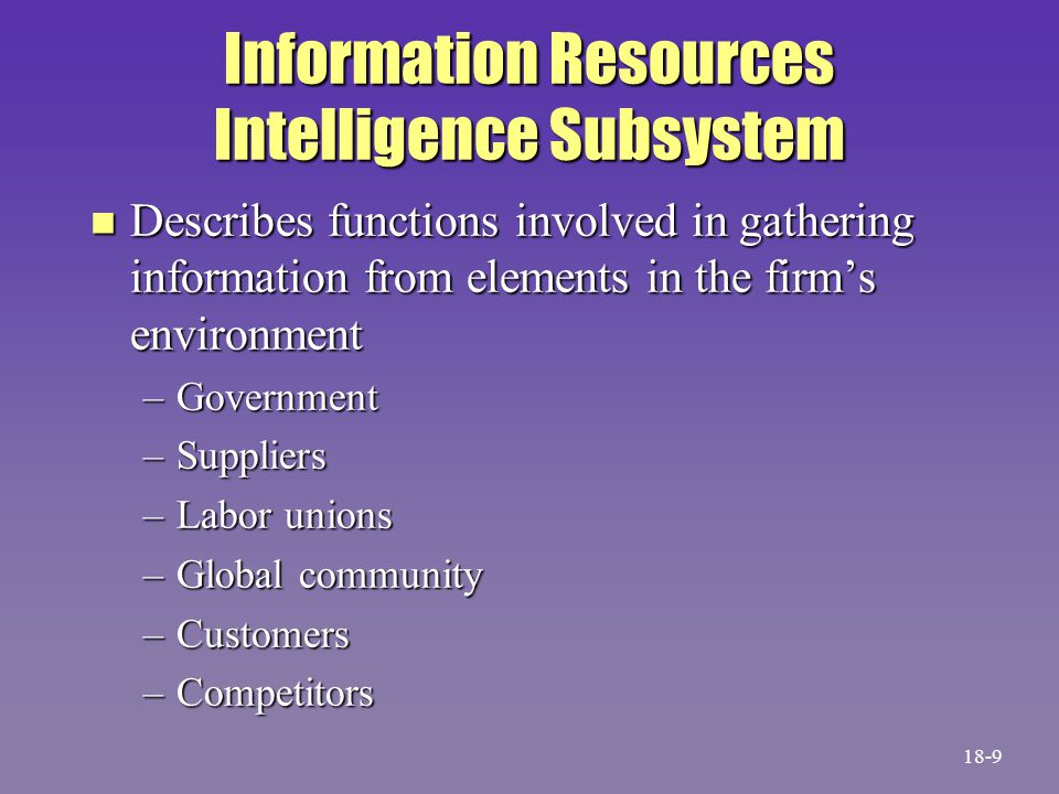 Information Resources Intelligence Subsystem n Describes functions involved in gathering information from elements in the firm's environment –Government –Suppliers –Labor unions –Global community –Customers –Competitors 18-9