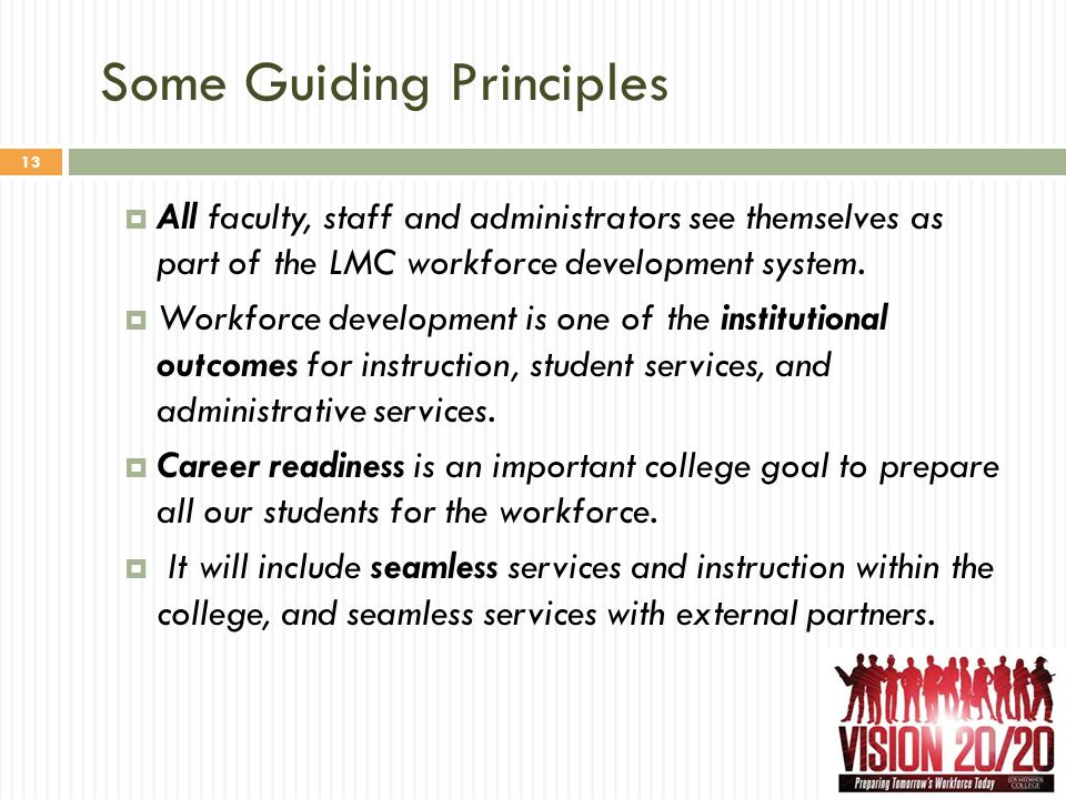 Some Guiding Principles 13  All faculty, staff and administrators see themselves as part of the LMC workforce development system.  Workforce develop
