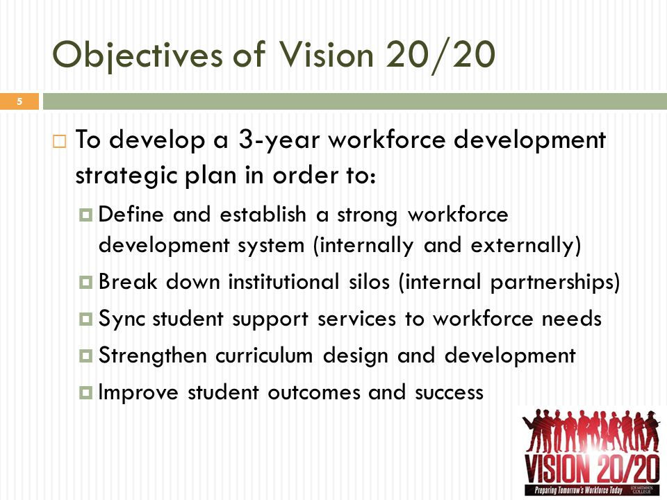Objectives of Vision 20/20  To develop a 3-year workforce development strategic plan in order to:  Define and establish a strong workforce developme