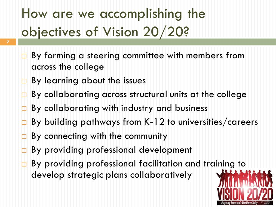 How are we accomplishing the objectives of Vision 20/20? 7  By forming a steering committee with members from across the college  By learning about