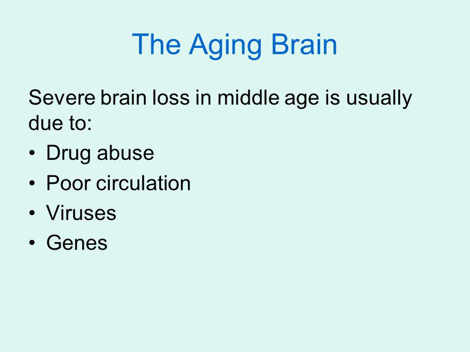 The Aging Brain Severe brain loss in middle age is usually due to: Drug abuse Poor circulation Viruses Genes