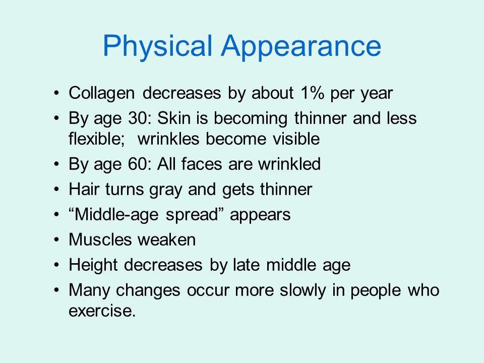 Collagen decreases by about 1% per year By age 30: Skin is becoming thinner and less flexible; wrinkles become visible By age 60: All faces are wrinkl