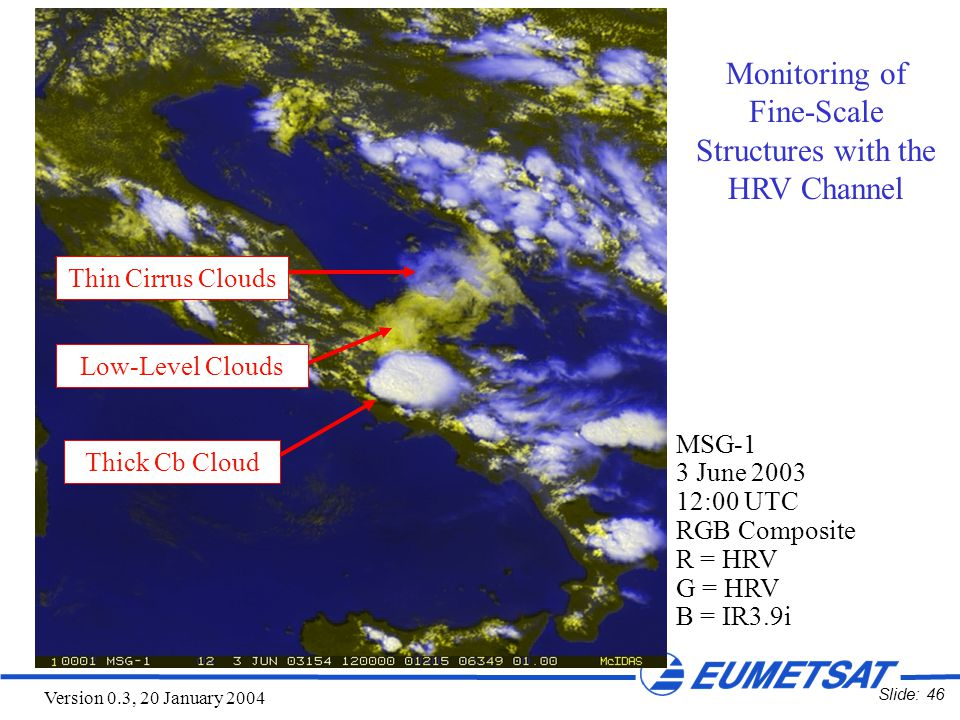 Slide: 46 Version 0.3, 20 January 2004 MSG-1 3 June 2003 12:00 UTC RGB Composite R = HRV G = HRV B = IR3.9i Monitoring of Fine-Scale Structures with the HRV Channel Thin Cirrus Clouds Low-Level Clouds Thick Cb Cloud