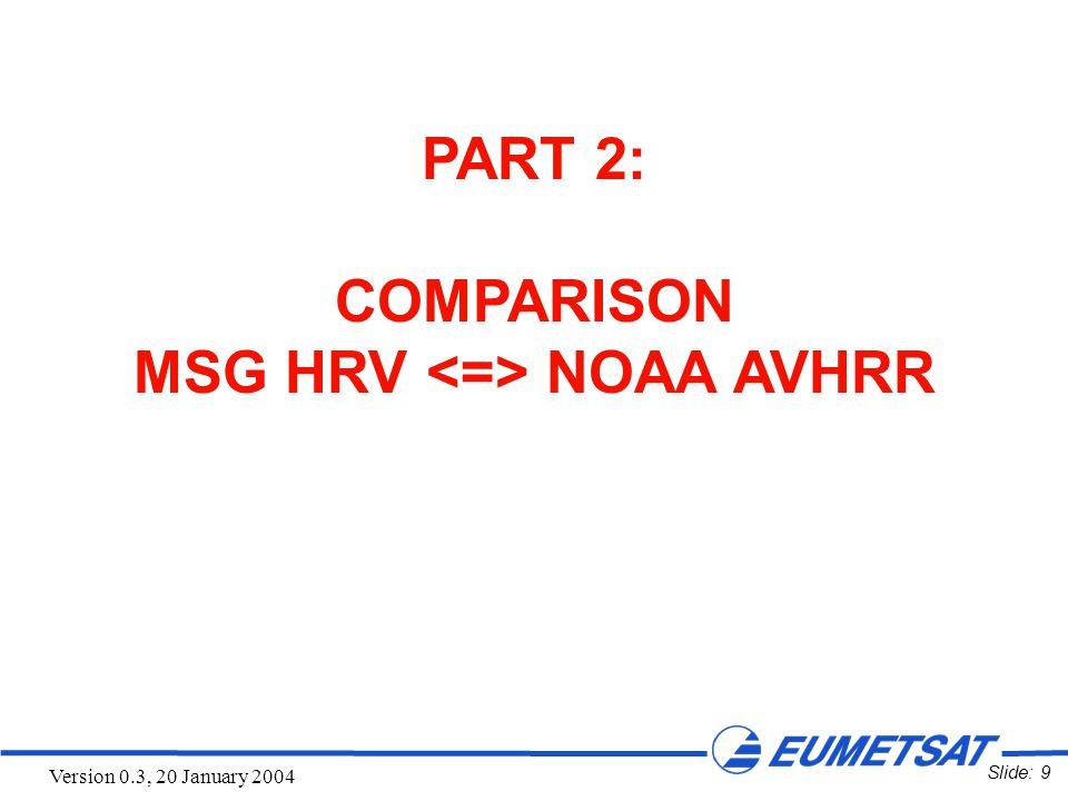 Slide: 10 Version 0.3, 20 January 2004 Shallow Fog in the Po Valley - MSG-1 HRV vs NOAA-16 AVHRR CH2 - MSG-1 HRV Channel, 13:00 UTC AVHRR Channel 2, 13:02 UTC 19 November 2003