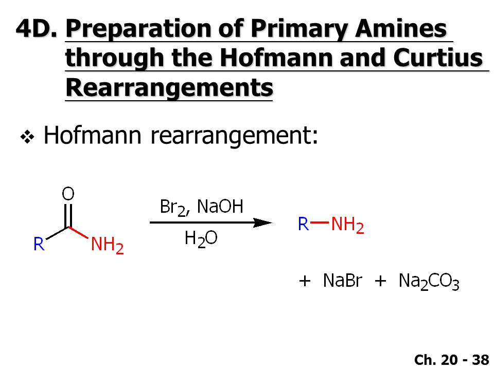 Ch. 20 - 38 4D.Preparation of Primary Amines through the Hofmann and Curtius Rearrangements  Hofmann rearrangement: