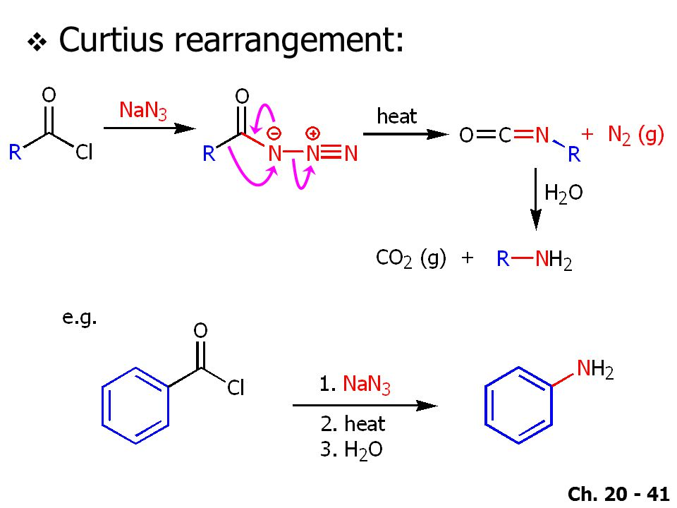 Ch. 20 - 41  Curtius rearrangement: