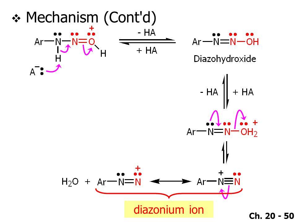 Ch. 20 - 50  Mechanism (Cont d) diazonium ion