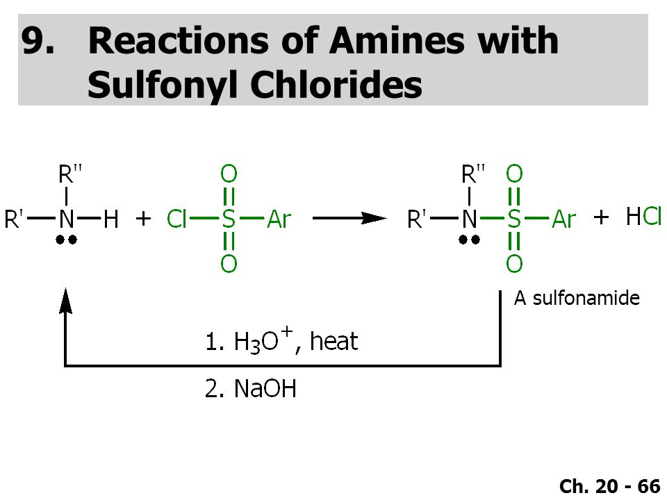 Ch. 20 - 66 9.Reactions of Amines with Sulfonyl Chlorides A sulfonamide