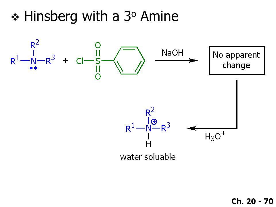 Ch. 20 - 70  Hinsberg with a 3 o Amine