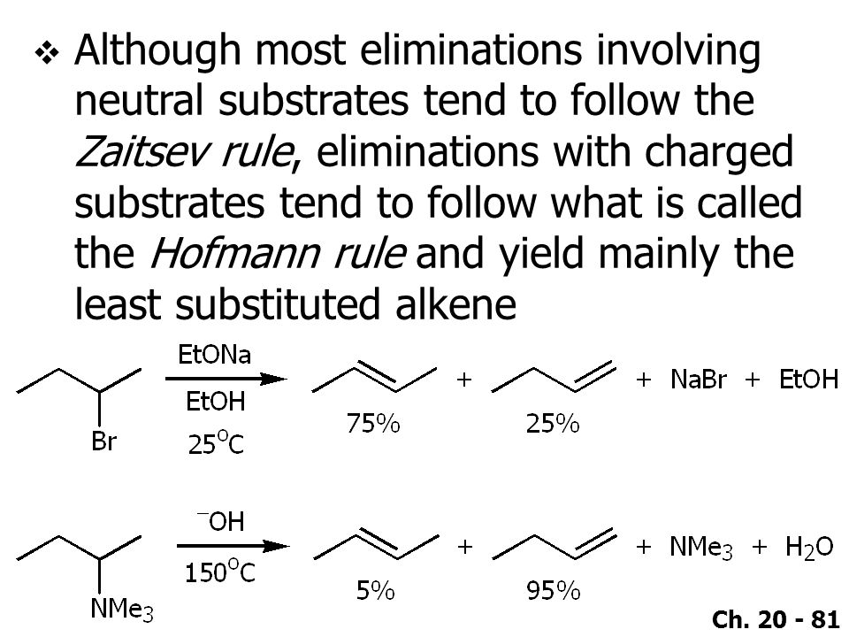 Ch. 20 - 81  Although most eliminations involving neutral substrates tend to follow the Zaitsev rule, eliminations with charged substrates tend to fo