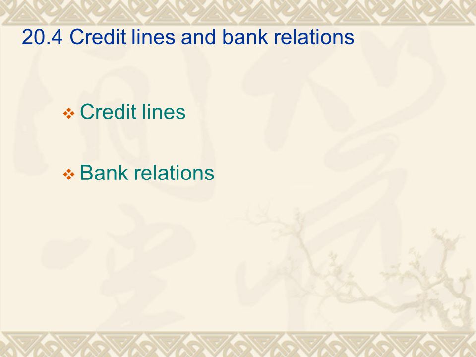 20.4Credit lines and bank relations  Credit lines  Bank relations