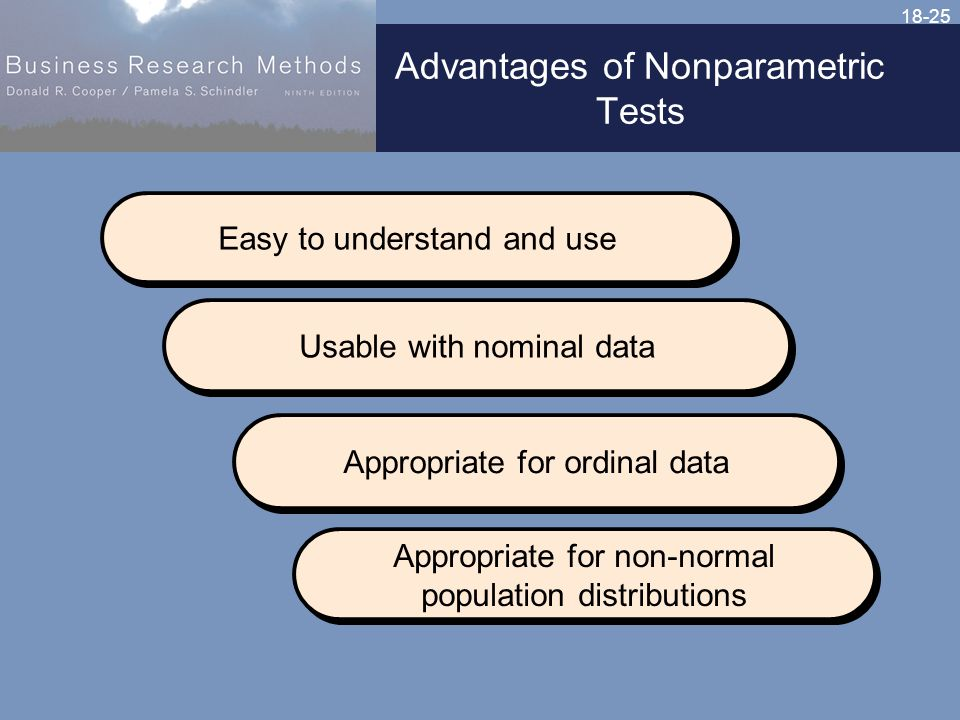18-25 Advantages of Nonparametric Tests Easy to understand and use Usable with nominal data Appropriate for ordinal data Appropriate for non-normal population distributions