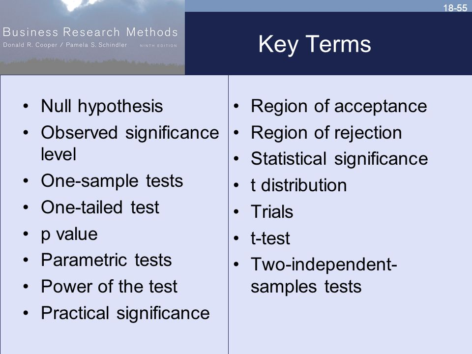 18-55 Key Terms Null hypothesis Observed significance level One-sample tests One-tailed test p value Parametric tests Power of the test Practical significance Region of acceptance Region of rejection Statistical significance t distribution Trials t-test Two-independent- samples tests